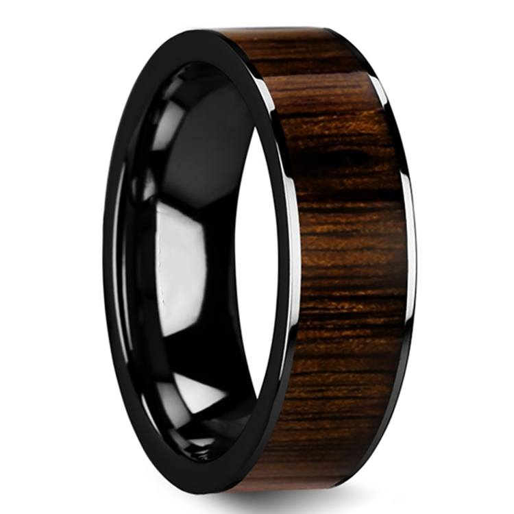 Deep Forest - 8mm Black Ceramic Mens Band with Black Walnut Inlay | 02