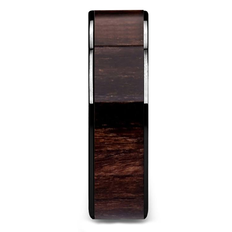 Deep Forest - 8mm Black Ceramic Mens Band with Black Walnut Inlay | 03