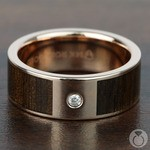 Sunrise - 14K Rose Gold Diamond Mens Band with Black Walnut Inlay | Thumbnail 03