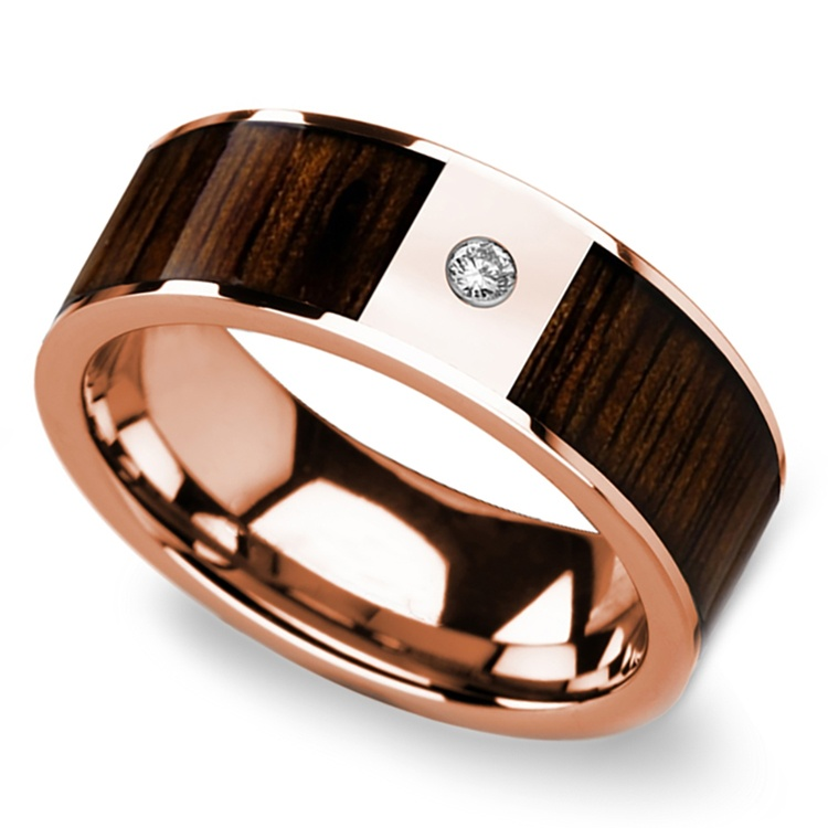 Sunrise - 14K Rose Gold Diamond Mens Band with Black Walnut Inlay | 01