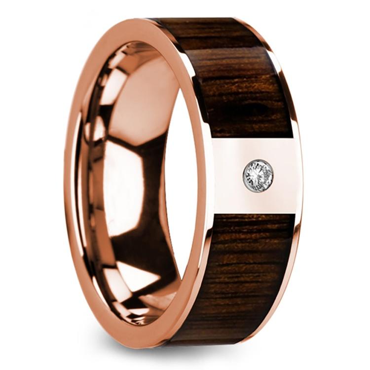 Black Walnut Wood Inlay Men's Wedding Ring with Diamond in Rose Gold | 02