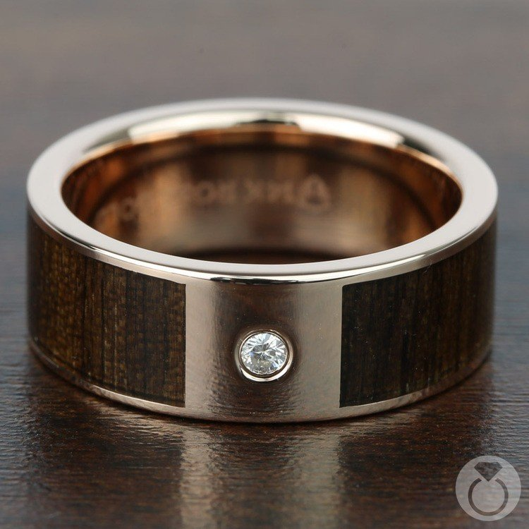 Sunrise - 14K Rose Gold Diamond Mens Band with Black Walnut Inlay | 03