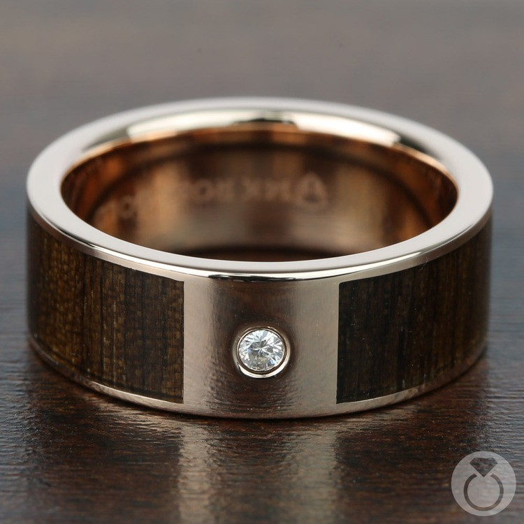 Black Walnut Wood Inlay Men's Wedding Ring with Diamond in Rose Gold | 03