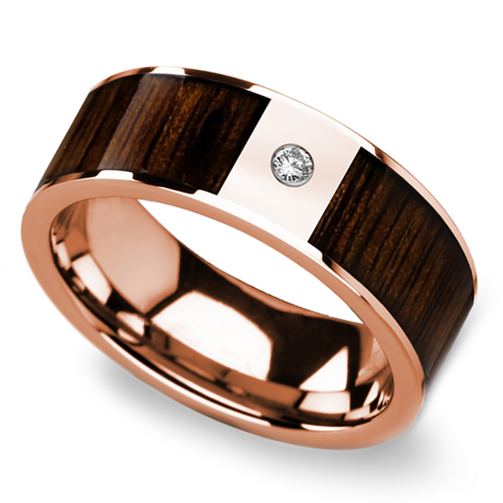 Black walnut wood inlay men 39 s wedding ring with diamond in for Design your own wooden ring