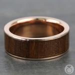 Black Walnut Wood Inlay Men's Ring in Rose Gold | Thumbnail 03