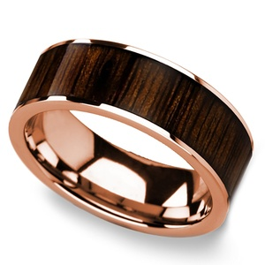 Black Walnut Wood Inlay Men's Ring in Rose Gold