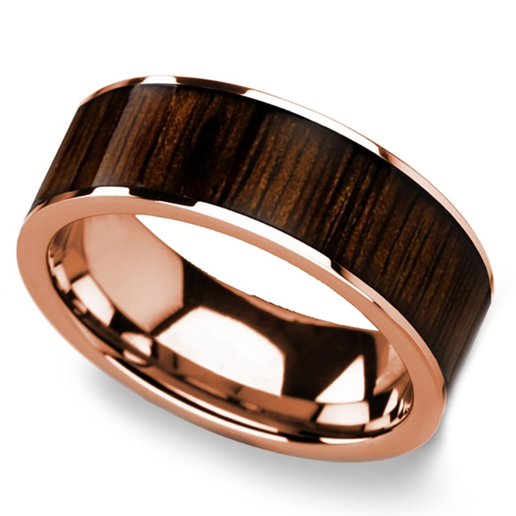 Black Walnut Wood Inlay Men's Ring in Rose Gold | 01
