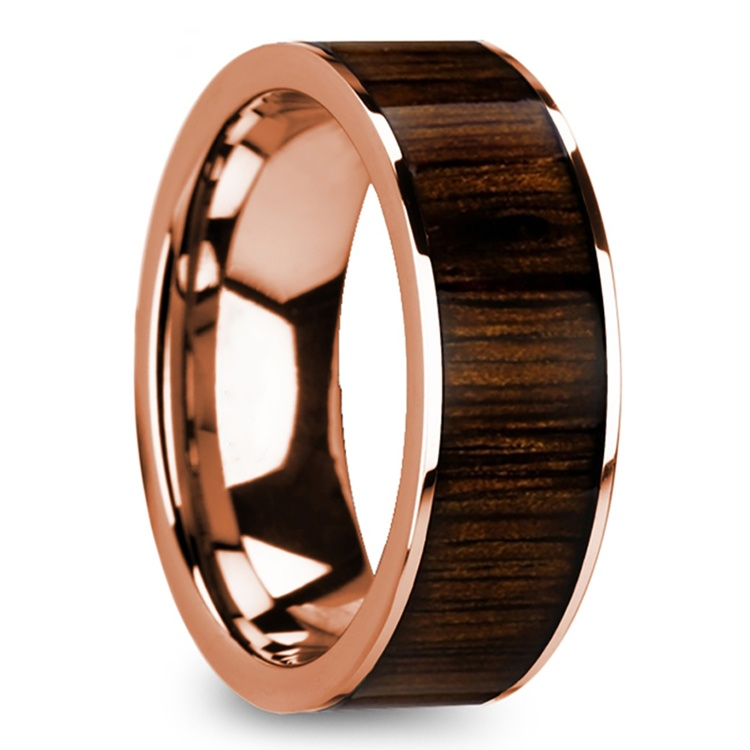 Black Walnut Wood Inlay Men's Ring in Rose Gold | 02