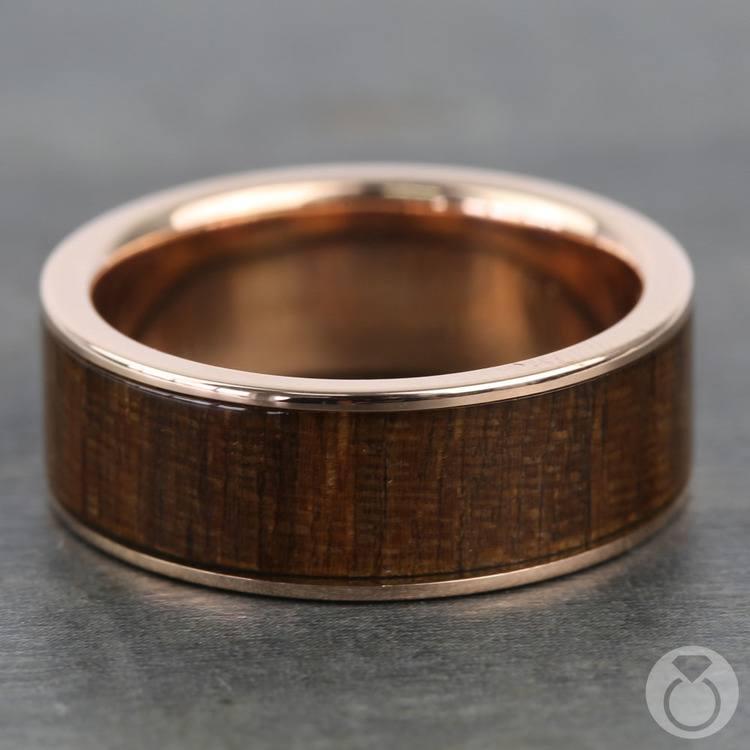 Black Walnut Wood Inlay Men's Ring in Rose Gold | 03