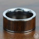 Black Walnut Wood Inlay Men's Wedding Ring in Tungsten (10mm) | Thumbnail 04