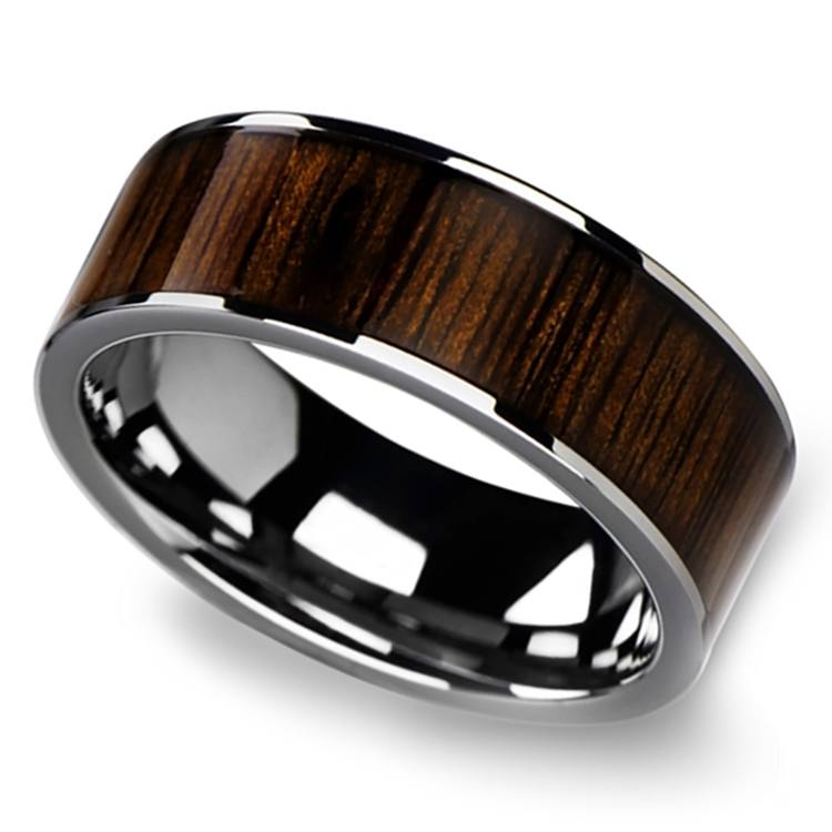 Black Walnut Wood Inlay Men's Wedding Ring in Tungsten (10mm) | 01