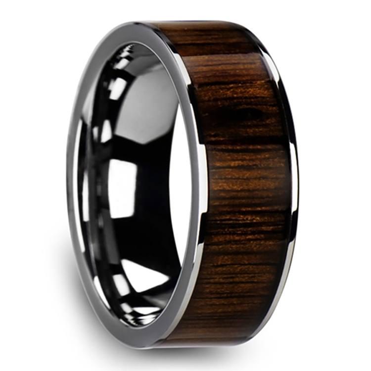 Black Walnut Wood Inlay Men's Wedding Ring in Tungsten (10mm) | 02