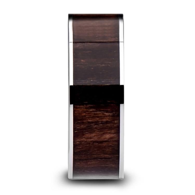 Black Walnut Wood Inlay Men's Wedding Ring in Tungsten (10mm) | 03