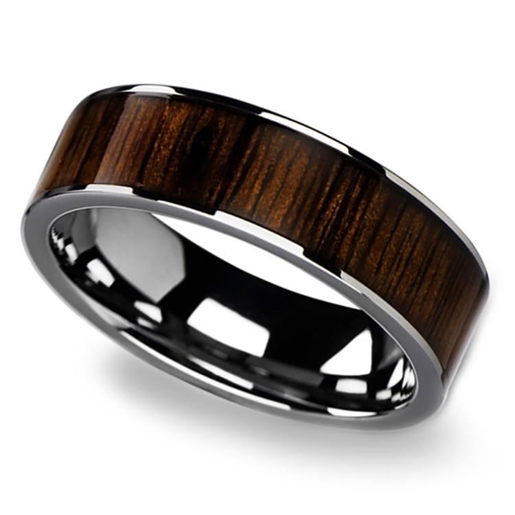 Black Walnut Wood Inlay Men's Wedding Ring in Tungsten (6mm) | 01