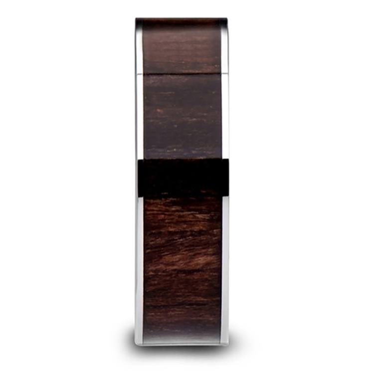 Black Walnut Wood Inlay Men's Wedding Ring in Tungsten (6mm) | 03