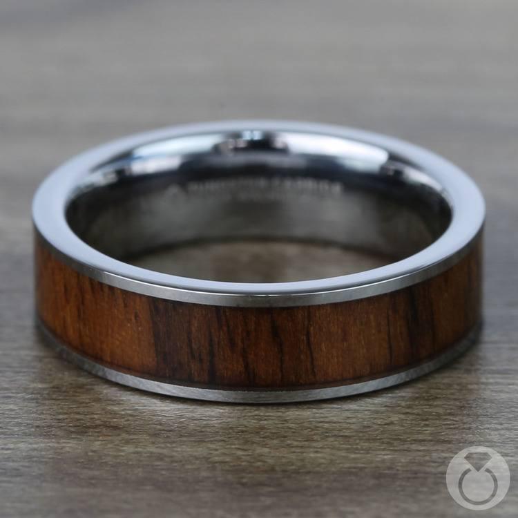 Black Walnut Wood Inlay Men's Wedding Ring in Tungsten (6mm) | 04