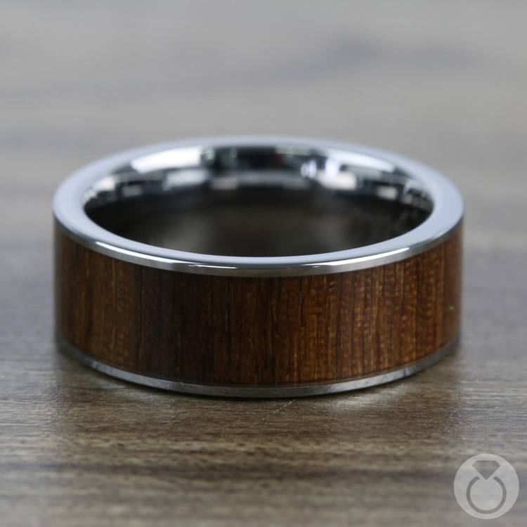 The Canopy - Tungsten Mens Band with Black Walnut Wood Inlay   04
