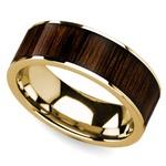 Black Walnut Inlay Men's Wedding Ring in Yellow Gold | Thumbnail 01