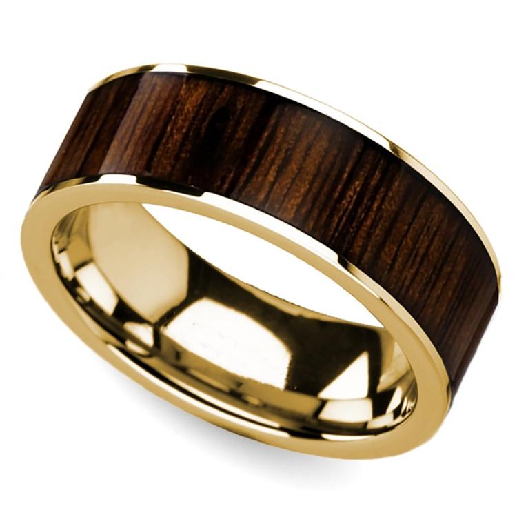 Black Walnut Inlay Men's Wedding Ring in Yellow Gold   01