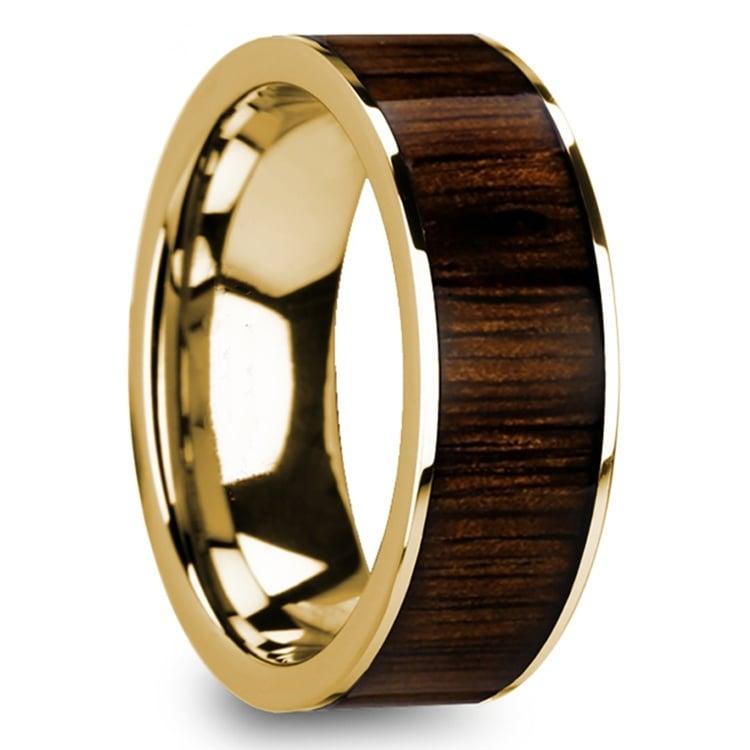 Black Walnut Inlay Men's Wedding Ring in Yellow Gold | 02