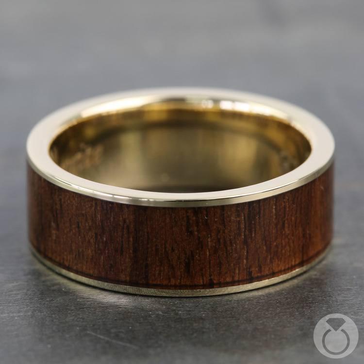 Black Walnut Inlay Men's Wedding Ring in Yellow Gold | 03