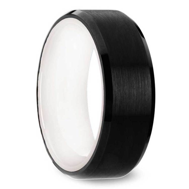 Monochrome - 8mm Beveled Black Tungsten Mens Band with White Ceramic Sleeve | 02