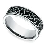 Blackened Celtic Knot Men's Wedding Ring in Cobalt | Thumbnail 01