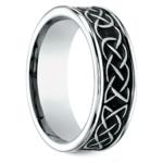 Blackened Celtic Knot Men's Wedding Ring in Cobalt | Thumbnail 02