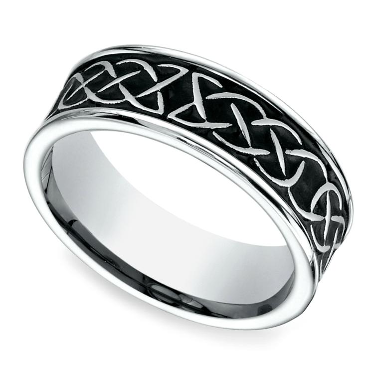 Blackened Celtic Knot Men's Wedding Ring in Cobalt | 01