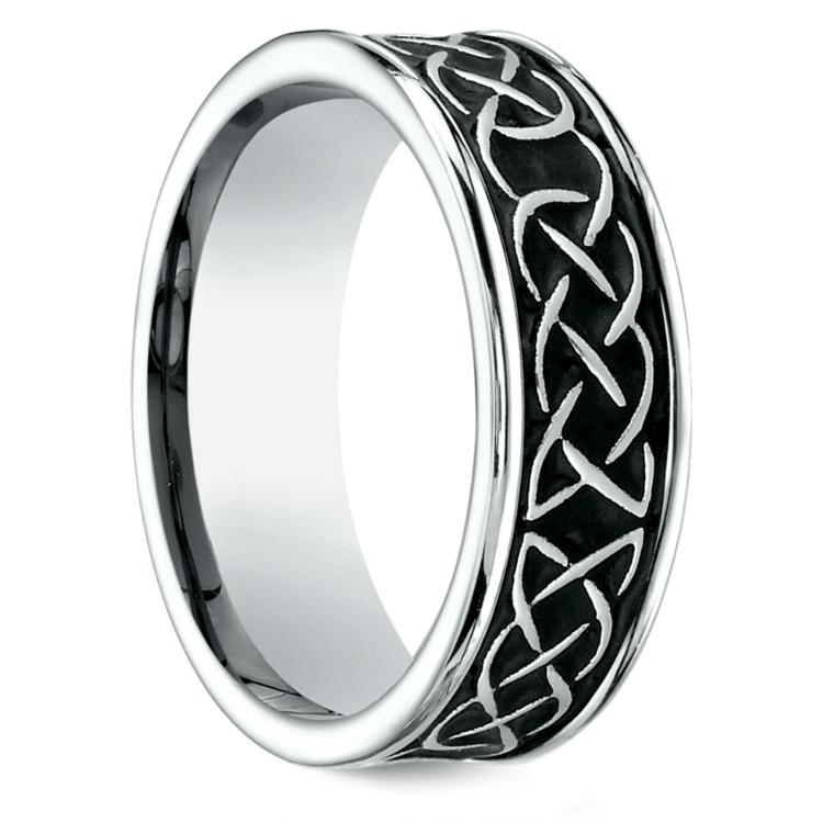 Blackened Celtic Knot Men's Wedding Ring in Cobalt | 02
