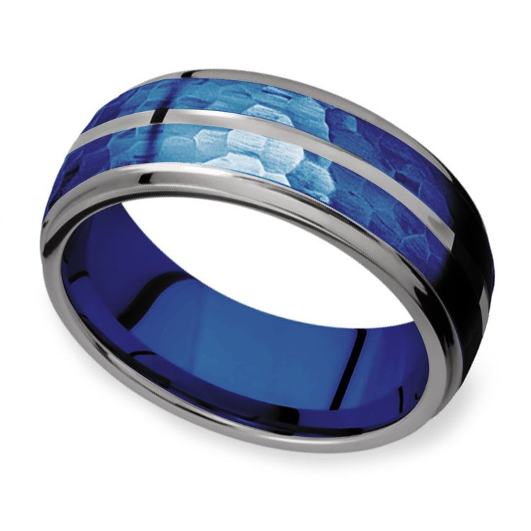Blue Depth - Tungsten Flat Edge Patterned Men's Band | 01