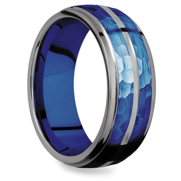 Blue Depth - Tungsten Flat Edge Patterned Men's Band | 02