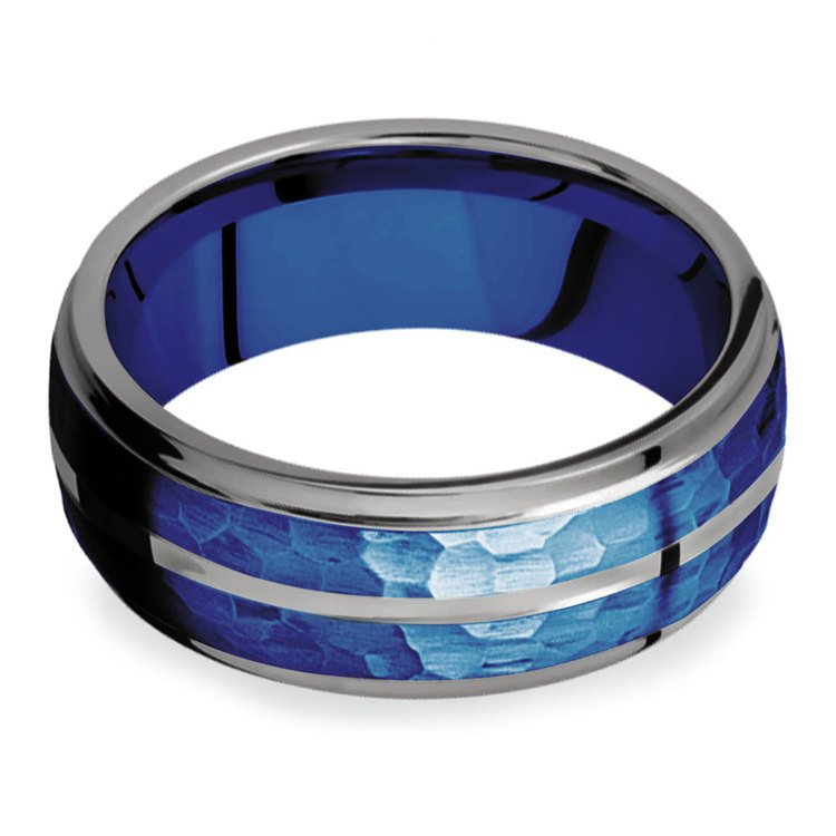 Blue Depth - Tungsten Flat Edge Patterned Men's Band | 03