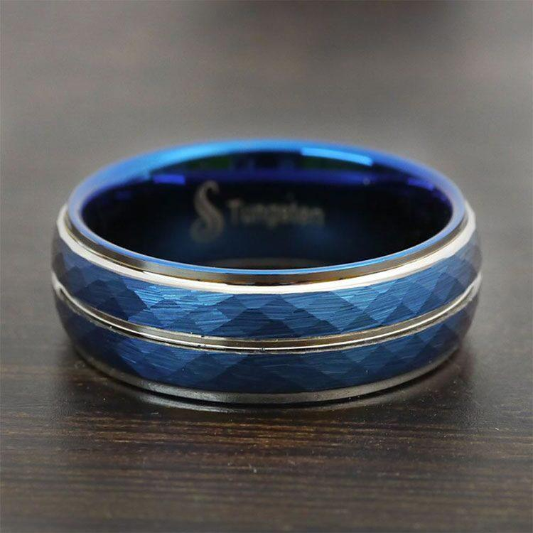 Blue Depth - Tungsten Flat Edge Patterned Men's Band | 04
