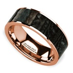 Blue Dinosaur Bone Inlay Men's Wedding Ring in 14k Rose Gold | Thumbnail 01