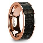 Blue Dinosaur Bone Inlay Men's Wedding Ring in 14k Rose Gold | Thumbnail 02