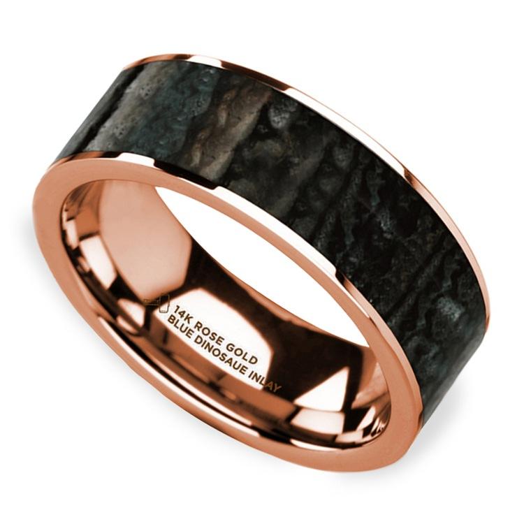 Blue Dinosaur Bone Inlay Men's Wedding Ring in 14k Rose Gold | 01