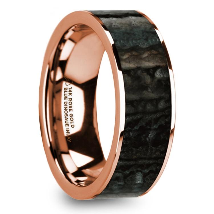 Blue Dinosaur Bone Inlay Men's Wedding Ring in 14k Rose Gold | 02