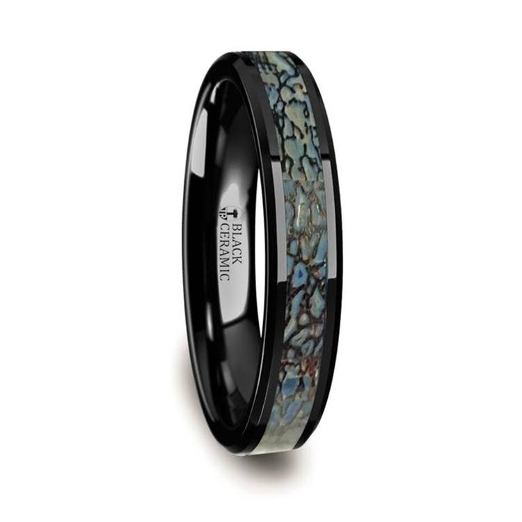 Blue Dinosaur Bone Inlay Wedding Ring in Black Ceramic (4mm) | 02