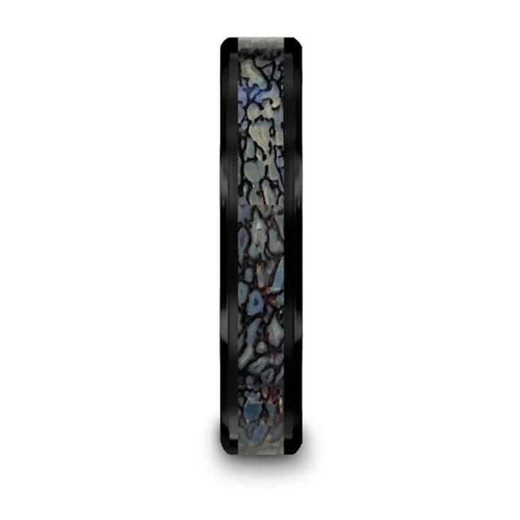 Blue Dinosaur Bone Inlay Wedding Ring in Black Ceramic (4mm) | 03