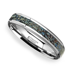 Blue Dinosaur Bone Inlay Wedding Ring in Tungsten (4mm) | Thumbnail 01