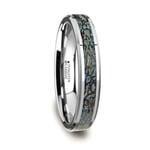 Blue Dinosaur Bone Inlay Wedding Ring in Tungsten (4mm) | Thumbnail 02