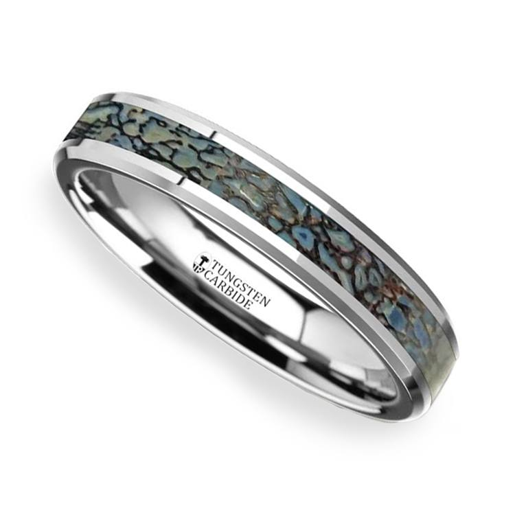 Blue Dinosaur Bone Inlay Wedding Ring in Tungsten (4mm) | 01