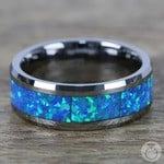Blue Green Opal Inlay Men's Wedding Ring in Tungsten | Thumbnail 04