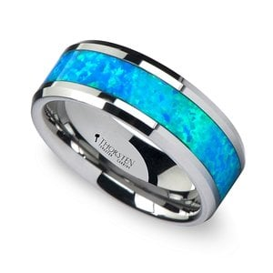 Cerulean - Blue Green Opal Inlay Men's Wedding Ring in Tungsten