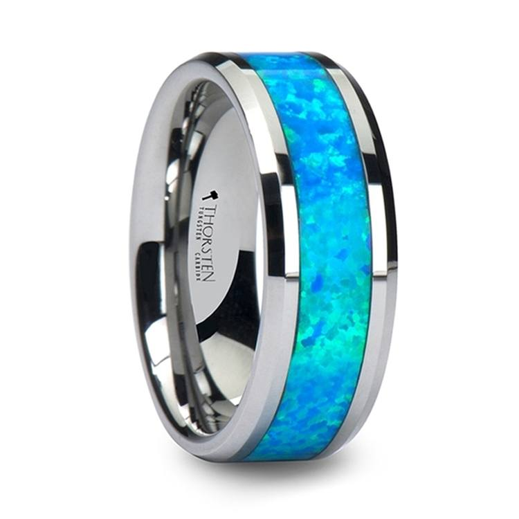 Blue Green Opal Inlay Men S Wedding Ring In Tungsten
