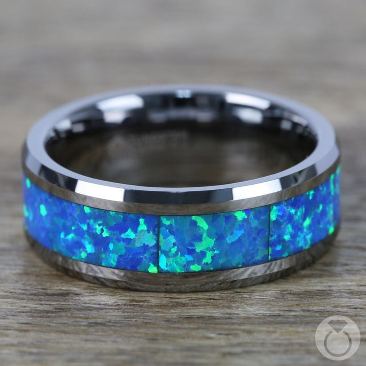 Blue Green Opal Inlay Men's Wedding Ring in Tungsten | 04