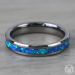 Blue-Green Opal Inlay Wedding Ring in Tungsten (4mm) | Thumbnail 04