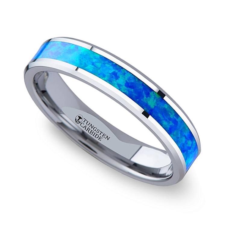 Blue-Green Opal Inlay Wedding Ring in Tungsten (4mm) | 01