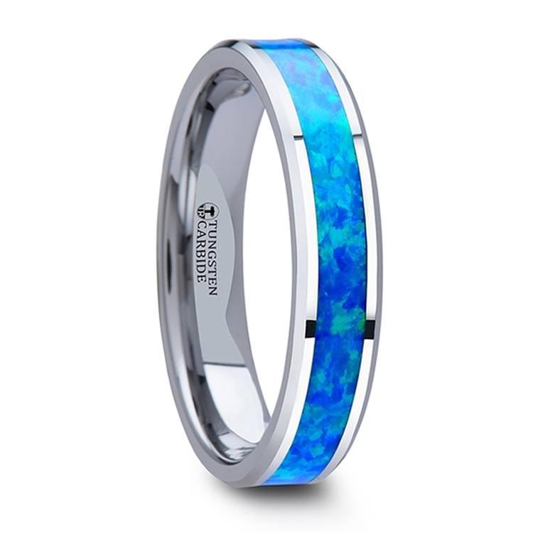 Blue-Green Opal Inlay Wedding Ring in Tungsten (4mm) | 02